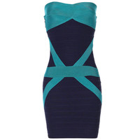 Bqueen Green Deep Blue Strapless Dress H206L