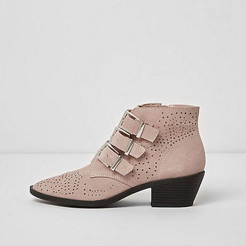 Pink triple buckle suede western boots - Boots - Shoes & Boots - women