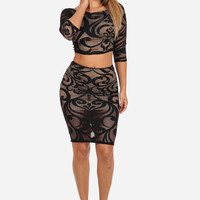 SPIRAL LACE CROP TOP & MIDI SKIRT