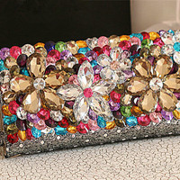 Handmade Party Leather Wallet, Full Crystal Luxury Women Wallet Present, Wristlets Wallets  for Women