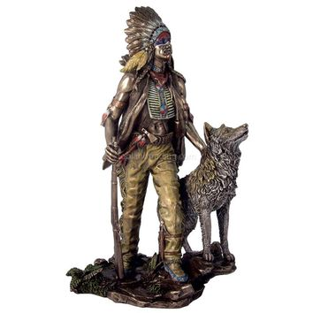 Indian Plains with Wolf Statue Bronze Finish 11.5H