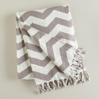 Gray and White Chevron Throw - World Market