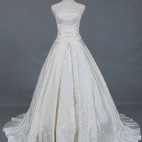 A-line/Princess Strapless Cathedral Train Taffeta Wedding Dresses With Embroidery  Beading Free Shipping