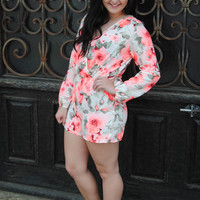 Neon Coral and Ivory Floral Romper