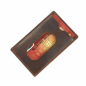 New Arrival Credit ID Card Holder Slim Wallet Purse Vintage Crazy Horse Leather Customized Business Unisex Card Holder