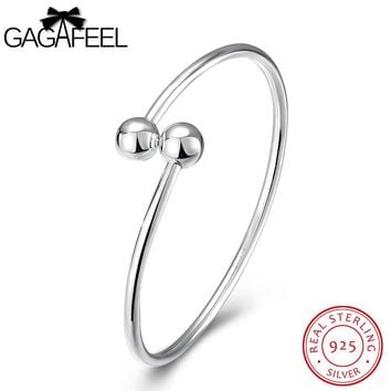 GAGAFEEL Sterling-Silver-Jewelry Female Bracelets Contract Beads Cuff Bangles for Women Bangle Watch Bracelet Girls Lady Gifts