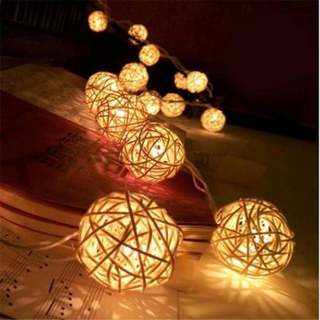1.5M LED Rattan 10 Balls LED String Light Fairy Lanterns Wedding Outdoor Decor