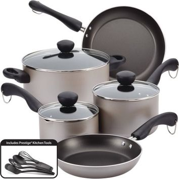 Farberware Easy Clean Dishwasher Safe Aluminum Nonstick 12-Piece Cookware Set - Walmart.com