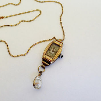 Vintage Geneve Watch and Mustard Seed Necklace, Assemblage, Repurposed, 12K GF