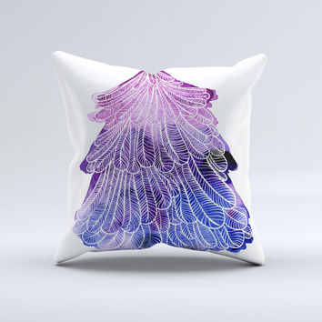 The Stenciled Watercolor Evergreen Tree ink-Fuzed Decorative Throw Pillow