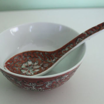 Set! Vintage Hand Painted Ceramic Rice Bowl and Spoon, Hong Kong, Collector serving Bowl, China