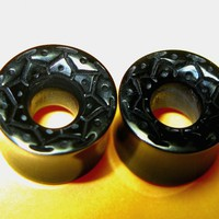 Black tunnels with flowr mandala. Compatible with pin earrings. 7/1......   RogueBodyJewelry - Jewelry on ArtFire