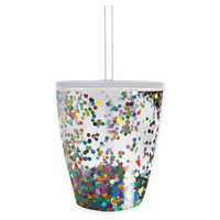 Slant Collections- 10 Oz. Stemless Wine Glass- Multi Confetti