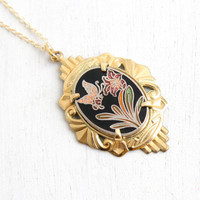 Vintage 14k Yellow Gold Filled Enamel Flower & Butterfly Pendant Necklace - Cloisonne Charm on 14k Gold Filled Chain Jewelry