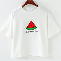 White Short Sleeve Watermelon Embroidered Cropped T-Shirt
