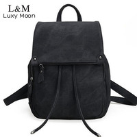 Vintage Women Backpack Simple Style Black Backpacks For Teenage Girls Bag Large PU Leather School Bags Drawstring mochila XA839H