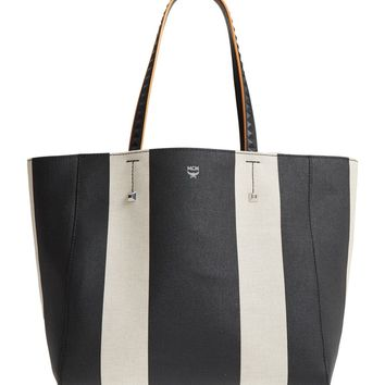 MCM Ilse Medium East/West Stripe Canvas Shopper | Nordstrom