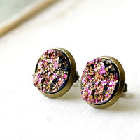 in the pink antique brass faux druzy pink and gold post earrings, stud earrings, faux plugs