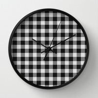 Sleepy Black and White Plaid Wall Clock by RichCaspian