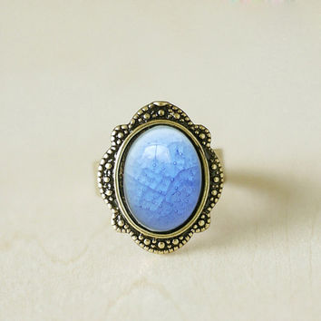 Ice blue porcelain ring opal antique vintage ceramicring adjustable statement ring Victorian sapphire ring Exotic Jewelry Fantasy Elf Ring