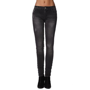 Jeans Skinny Fit in Washed Black Distressed