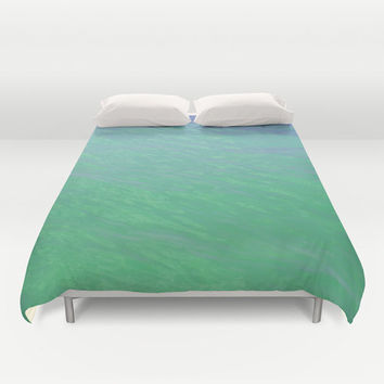 Mermaid Waters - Duvet Cover, Sea Foam Green Surf Bedding, Beach Ocean Bohemian Decor Bed Blanket Throw Cover. In Full / Queen / King Size