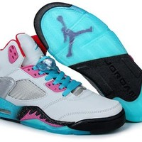 Cheap Nike Air Jordan 5 Men Shoes Miami Vice Grey Teal Pink