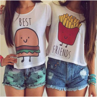 Cartoon Printing T-shirt Women Girl Best Friend Casual Blouse Tops
