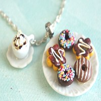 chocolate donuts and coffee necklace