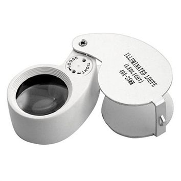 Portable Folding 40X 25mm Metal White LED Illuminated Loupe Jewelry Magnifier Magnifying Glass