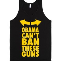 Obama Can't Ban These Guns Yellow-Unisex Black Tank