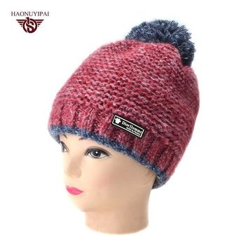 DCCKJG2 2016 New Fashion Woman's Winter Warmer Hats Knitted Cap For Women Striped Pompom Skullies Beanies Sport Ear Hat 6 Color Gorros