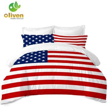 Cool Classic American Flag Bedding Set Striped Star Print Duvet Cover Set Twin Full Queen King Quilt Cover Pillowcase 3Pcs B30AT_93_12