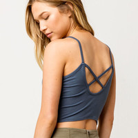 DESTINED Ribbed Cross Back Blue Womens Crop Tank Top
