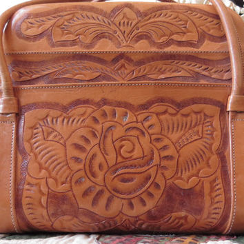 Vintage Leather Tooled Hand or Shoulder Bag Leather Tooled Rose Mid Century Country Western Women's Fashion