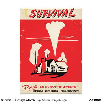 Survival - Vintage Atomic safety poster Photo Print
