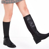 Wide Fit Black Buckle Side Knee High Boots   New Look