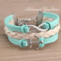 bracelet, cute mint green bracelet, mint green leather , infinity and anchor bracelet, bridesmaid bracelet, friendship,christmas gift