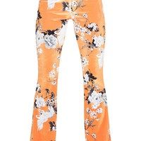 Petite Orange Floral Velvet Flared Trousers