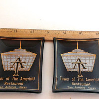 Vintage Pair Glass Dishes / Ashtrays From Tower Of the America's Restaurant San Antonio Texas 1960s