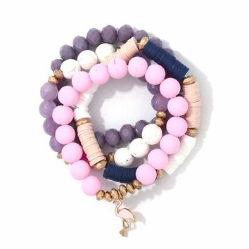 Multi Bead Flamingo Charm Stretch Bracelet Set