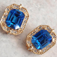 Blue Rhinestone Earrings Gold Tone Clips Square Vintage V0588