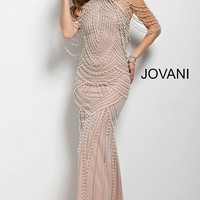 Ivory nude long fitted embellished high neck pageant dress.