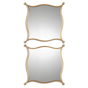 Roy Accent Mirrors, Gold Leaf, Set of 2, Wall Mirrors
