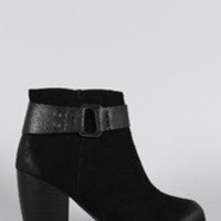 Women's Qupid Suede Hardware Round Toe Heeled Ankle Boots