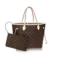 LV Women Shopping Leather Tote Louis Vuitton Monogram Canvas Beige Neverfull MM M40995
