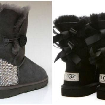 CUPUPS Swarovski Crystal Embellished Bailey Bow Uggs in Black