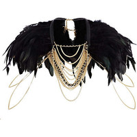 Black feather draped chain cape