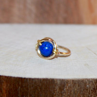 Tragus Earring - Helix Ring - Small Cartilage Earring - Nose Ring Hoop - 14K Yellow Gold Filled, 3mm Blue Lapis lazuli,  Belly Button Ring