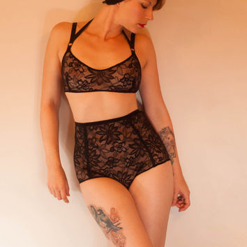 Handmade Stretch Black Lace High Waist Pantie Lingerie Set. UK Sizes 6,8,10,12,14,16